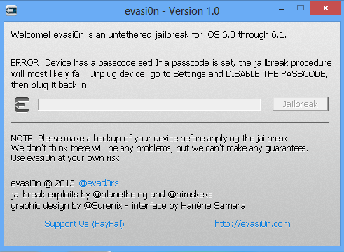 Evasi0n Untethered Jailbreak Interface - iOS 6.1, iPhone 5